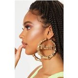 Gold Nasty Slogan Large Bamboo Hoops